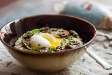 Kaszotto z grzybami i jajkiem sadzonym