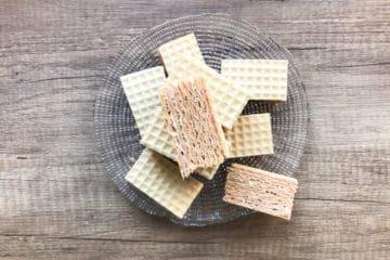 Andruty wafle przekładane masą z mleka w proszku