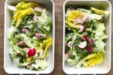Sałatka obiadowa z zielonej sałaty ze śmietanką