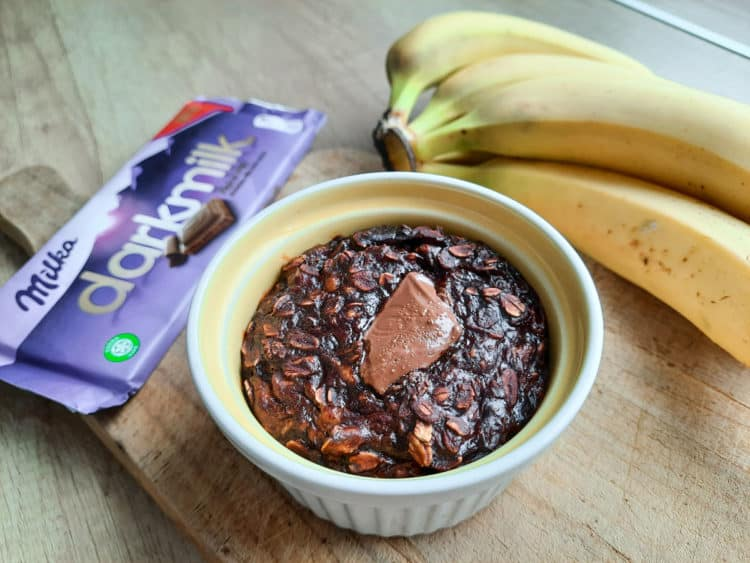 Pieczona owsianka bananowo - czekoladowa