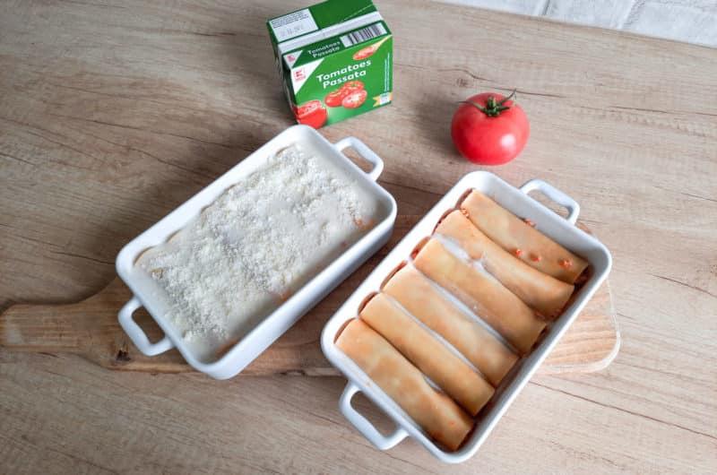 Makaron cannelloni à la lasagne z sosem bolońskim i beszamelowym