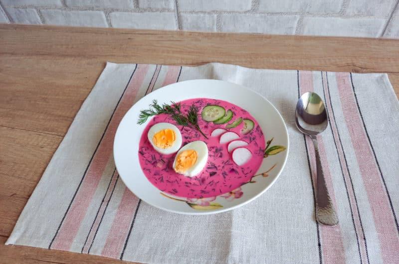 Chłodnik z botwinki z jajkiem na twardo