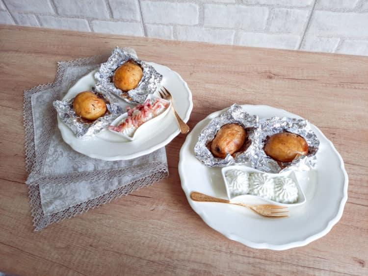 Pieczone ziemniaki z gzikiem i boczkiem